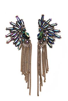 Fashion Jewelry Rhinestone Gold Tassel Earring