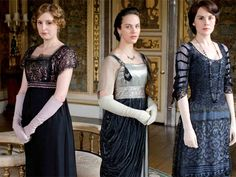 Downton Abbey - dressing for dinner.  Subtle sheerss, loosely cut sleeves, portrait necklines, and oh the Empire waists!