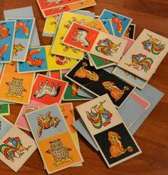 Domino- tai mitä vaan muita kuvia/kortteja, joista voi askarrella jotain kivaa ;)