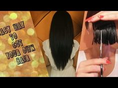 How to cut your own hair at home Face Framing Bangs, Face Framing Layers, Haircuts For Medium Hair, Medium Hair Styles, Cut Hair At Home, Blonde Highlights On Dark Hair, Diy Haircut, How To Cut Your Own Hair, Youtube Youtube
