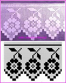 Filet Crochet, Crochet Lace Edging, Quick Crochet, Crochet Borders, Crochet Diagram, Crochet Chart, Crochet Home, Crochet Doilies, Crochet Curtain Pattern