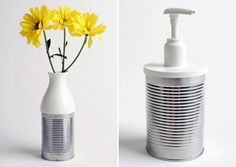 Tin Can Vase And Soap Dispenser