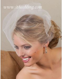 Illusions Bridal Veil pouf birdcage veil made of soft sheer illusion tulle. Style VS-789