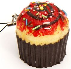 strawberry muffin squishy cellphone charm sprinkles 1