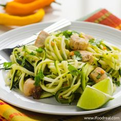 Zuchinni noodles with Cilantro lime chicken