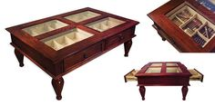 Has your private cigar collection outgrown your humidor? This luxurious dark mahogany finished coffee table has four built-in humidor drawers lined with premium Spanish cedar that holds and displays up to 400 of your finest cigars.