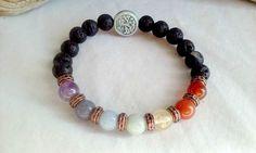 7 Chakra Lava stone Bracelet, Stretch bracelet, made with natural gemstones, raku Tree of Life Bead, 7.5 inches - pinned by pin4etsy.com