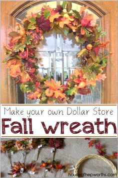 your own Fall Wreath {Dollar Store Fall Decor} Make your own Fall Wreath using items from the dollar store! Easy tutorial at Make your own Fall Wreath using items from the dollar store! Easy tutorial at Elegant Fall Wreaths, Easy Fall Wreaths, Diy Fall Wreath, Winter Wreaths, Spring Wreaths, Wreath Ideas, Summer Wreath, Holiday Wreaths, Dollar Tree Fall