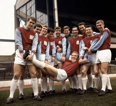 Bobby Moore and the West Ham squad horse around at Upton Park ahead of the FA Cup final in April, 1964