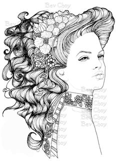 Adult Coloring Page - Daphne by BevChoyArt on Etsy