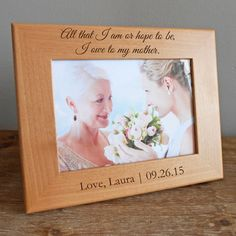Shop now our personalized Mother of the Bride picture, engraved with your own message.