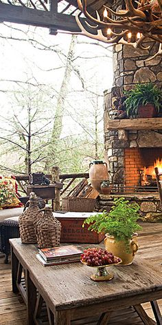 #Cabin Interiors & Decor ... #log #cabins #rustic #porch designed by Charles Faudree