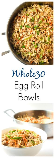 Egg Roll Bowls - a simple one pot meal with awesome egg roll flavor, but healthier! Paleo, gluten and dairy free. Egg Roll Bowls - a simple one pot meal with awesome egg roll flavor, but healthier! Paleo, gluten and dairy free. Healthy Chinese Recipes, Paleo Recipes, Whole Food Recipes, Cooking Recipes, Paleo Meals, Gluten Free Japanese Recipes, Whole30 Chinese Food, Meatless Whole 30 Recipes, Gluten Free Chinese Food