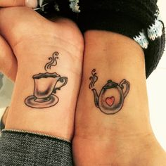 Got tatted with Momma  she's the big and I'm the little. Love you! #motherdaughtertattoo #teacup #teapot #adorables