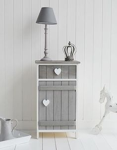 Grey and white Heart Cottage cupboard lamp table for hall furniture. The White Lighthouse offers a range of furniture and accessories with a combination of Coastal, Scandi, Danish, French, Shabby Chic and New England styles