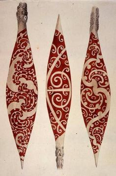 Scientific Illustration — inland-delta: Maori paddles from Captain Cook's. Maori Designs, Art Maori, Kia Ora, Maori Patterns, Henna, Polynesian Art, New Zealand Art, Nz Art, Kiwiana