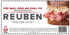 Free fries & drink with your Reuben sandwich at Arbys coupon via The Coupons App