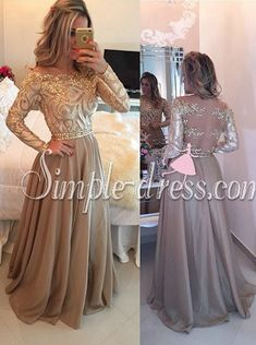 Buy Hot Selling Luxurious Cowl Floor Length Gold Evening/Party/Prom Dress With Long Sleeves Evening Dresses 2015 under $199.99 only in SimpleDress.