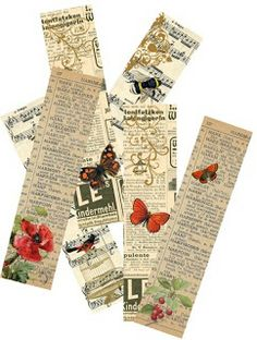Friday freebie - bookmarks   Altered Books idea