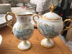 elite french limoges tea blue and gold #Limoges