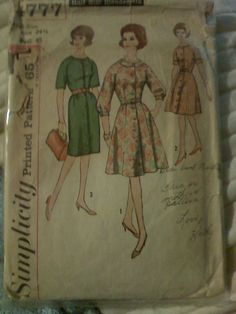 Vintage - Simplicity 4777  Size 24 1/2, Bust 45  Cut, All pieces included