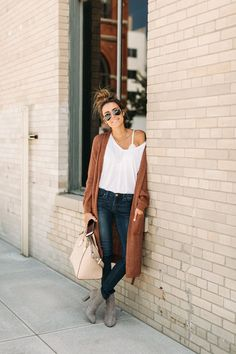 The perfect fit for a new plain white tee and my favorite new long cardigan