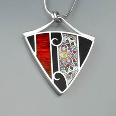 Ivy Woodrose PMC sterling and resin pendant by ivywoodrose on Etsy, $225.00