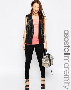 ASOS Maternity TALL Ridley Skinny Jean In Clean Black With Over The Bump Waistband – Black