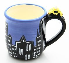 SALE City Skyline with Taxi Handmade Ceramic Coffee Mug  $10.00