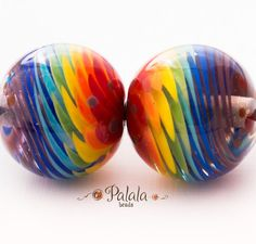 Handmade Lampwork Rainbow set of beads, suitable for earrings. Lampwork glass beads from Palala - best choice for beaded jewelry. Made in open fire of the torch, annealed in digitally controlled kiln for strength and durability. Cleaned with diamond coated drill and ready to be used in any creative project :)  Holes in beads are about 1,8 to 2,2 mm (5/64 to 3/32 in)  Approximate size of two central beads: 13x11mm (0,51x0,43 in) This item will be made to order in 1-3 days. Any questi...