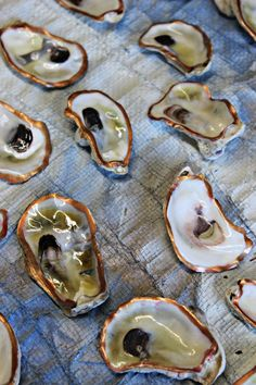 Love these DIY Oysters with gold rimmed leafing and then glazed. Gorgeous for salt and pepper on tables...