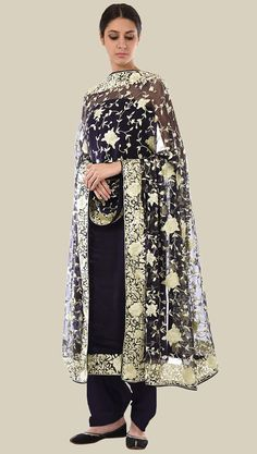 Masterpiece Midnight Blue Parsi Gara Hand Embroidered Pure Crepe Suit