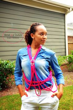 "#VersaLoop Couture Signature Classic ""Body Sculpting"" Scarf with accent pin featured in Hot Pink. $12.00. http://mkt.com/versaloop-couture-designs-and-accessories"