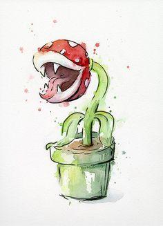 Piranha-Pflanze-Aquarell - Original Gemälde ORIGINAL Aquarell des Zeichens Piranha-Pflanze aus Mario Bros-Videospiel.  -Daniel Smith Aquarelle &