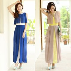 $ 12.03 Stitching Round Neck Women's Sleeveless Chiffon Maxi Long Dress