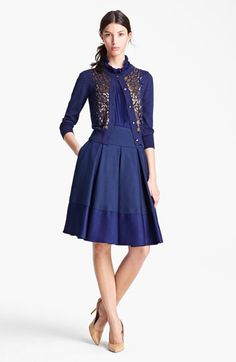Oscar de la Renta Embroidered Cashmere & Silk Cardigan, Pleated Blouse, and Contrast Band Skirt, with Jimmy Choo 'Cosmic' Platform Pump | Nordstrom