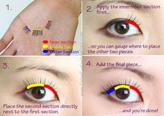 If you're in love with a pair of full strip lashes but can't seem to get them on correctly, try cutting them up in two or three sections.