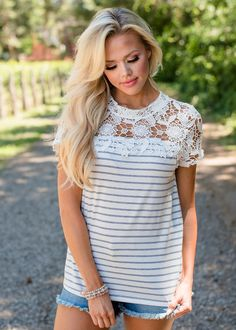 The All Of My Love Lace Shoulder Striped Top White/Gray makes a chic addition to your summer wardrobe. This top has a delicate white lace neckline and cap sleeve. The lace is complimented with a black and white striped material. Modern Vintage Boutique, Boutique Fashion, Summer Wardrobe, White Lace, Womens Fashion, Fashion Trends, T Shirts For Women, Chic, My Style