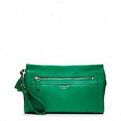 YUM. legacy leather large clutch.    In green or yellow <3