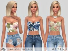 The Sims Resource: Charme Tops by Metens • Sims 4 Downloads