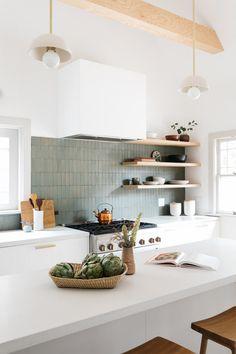Interior Decoration For Living Room Green Tile Backsplash, Kitchen Tiles, Kitchen Dining, Kitchen Backslash, Backsplash Ideas, Home Decor Kitchen, Kitchen Interior, Home Kitchens, Ikea Kitchens