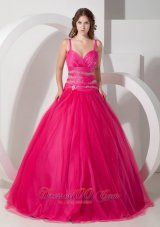 Hot Pink Ball Gown Spaghetti Straps Floor-length Tulle Beading Quinceanera Dress Pretty