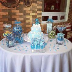 Candy bar estilo Frozen, Colores: Azul & Blanco