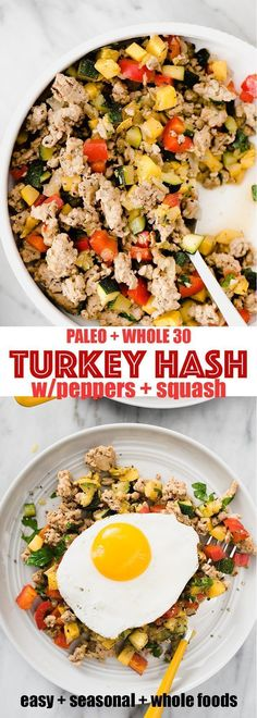 Ground turkey hash is one of my favorite and paleo breakfast prep recipes. It's a fast easy hearty and healthy ground turkey recipe that's naturally paleo gluten free and low carb. Ground turkey hash i Whole Foods, Paleo Whole 30, Whole 30 Meals, Whole 30 Snacks, Clean Eating Recipes, Clean Eating Snacks, Healthy Eating, Clean Foods, Turkey Hash