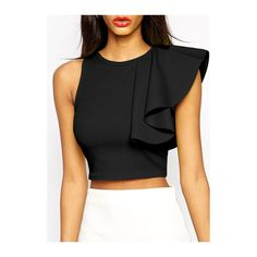 413faa1415427a Back Zipper Closure Flouncing Decorated Black Crop Top ( 18) ❤ liked on Polyvore  featuring