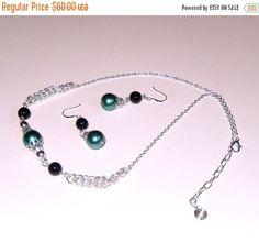 Verde collar y pendiente de la joyería de la perla con negro ágata gemtones, set de joyería de la perla, verde y negro, ideal para mujeres, bailes, regalos