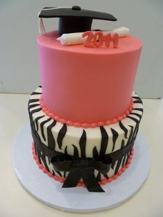 Pin Pink Zebra Graduation Cake Outta The Oven Picture To Graduation Cake, Graduation Ideas, Pretty Cakes, Cute Cakes, Chalkboard Cake, Trunk Party, Personalized Cakes, Pink Zebra, Grad Parties