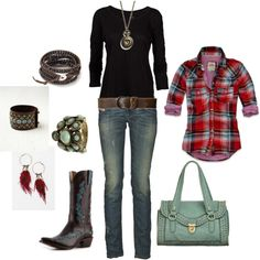 red shirt and cool boots, created by kristen-344 on Polyvore