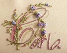 Embroidering the letters of a word, name or sentence