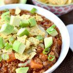 Crock Pot Sweet Potato and Quinoa Turkey Chili + iStir Crock-Pot Slow Cooker Giveaway!
